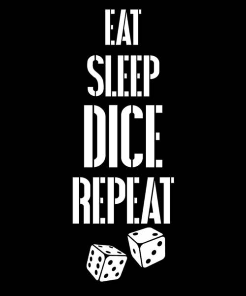 Caller Digital Art - Eat Sleep Dice Repeat Mens T Shirts by Sourcing Graphic Design