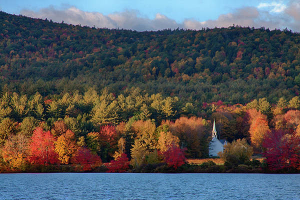 Photograph - Eaton White Church In Fall Colors by Jeff Folger