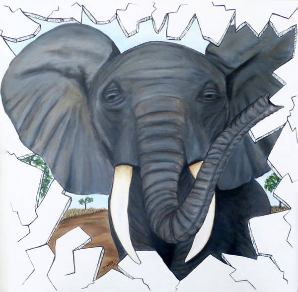 Painting - Eavesdropping Elephant by Teresa Wing