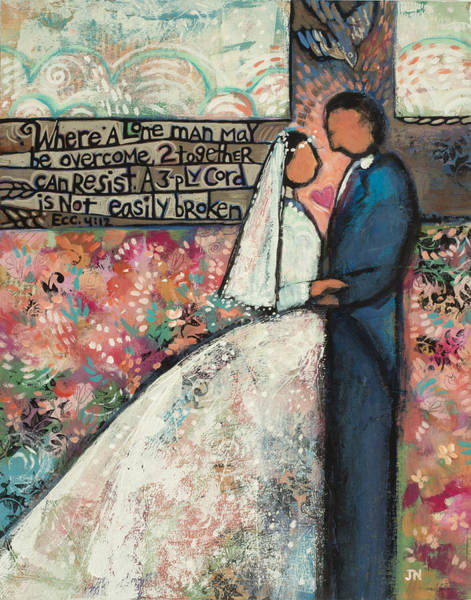 Marriage Painting - Ecclesiastes 4 12 Wedding Art by Jen Norton