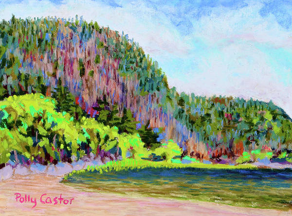 Pastel - Echo Lake Beach, Acadia by Polly Castor