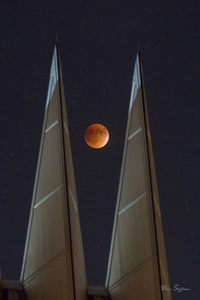 Blood Moon Wall Art - Photograph - Eclipse Beween The Spires by David Soldano