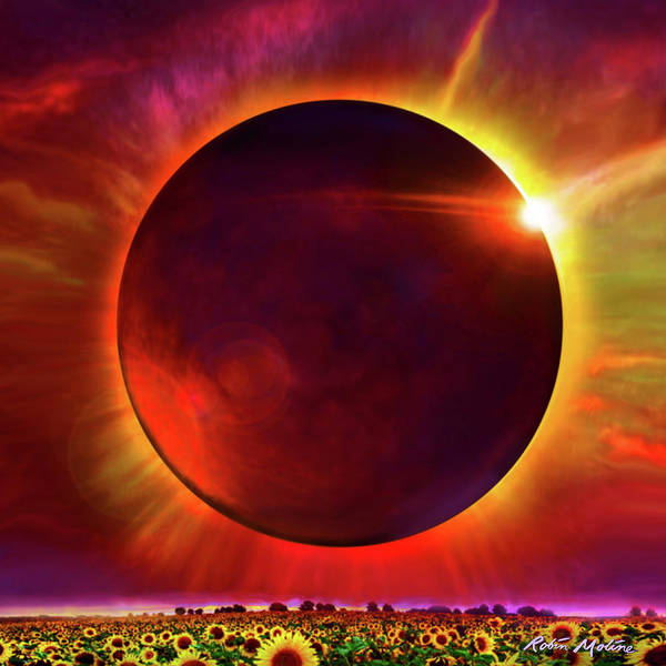 Digital Art - Eclipse Of The Sunflower by Robin Moline