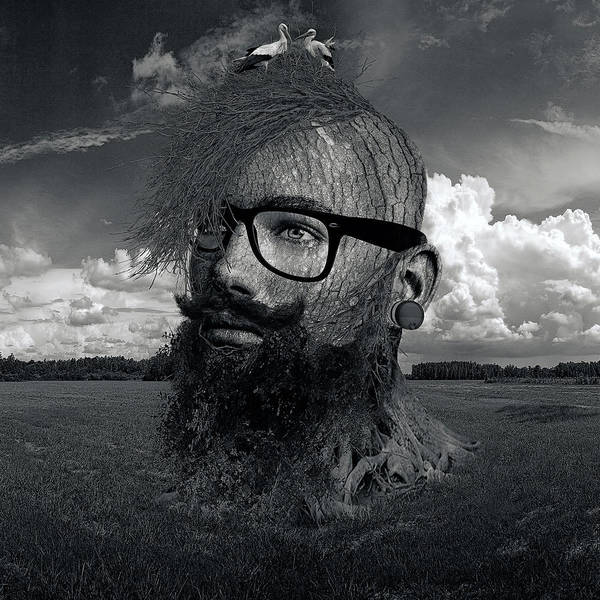 Grass Tree Digital Art - Eco Hipster Black And White by Marian Voicu