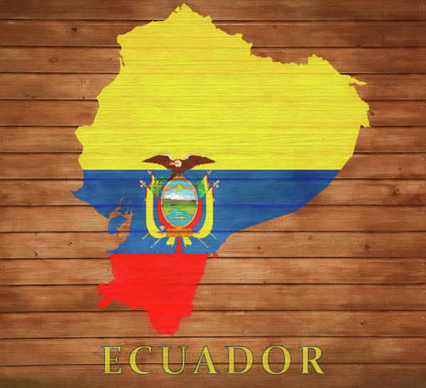 Traveler Mixed Media - Ecuador Rustic Map On Wood by Dan Sproul