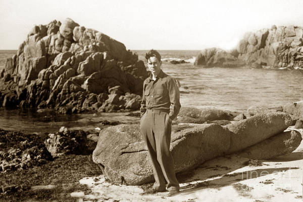 Photograph - Ed F. Ricketts At Beach At Hopkins Marine Station Photo By Ed Ricketts Jr. 1946 by California Views Archives Mr Pat Hathaway Archives