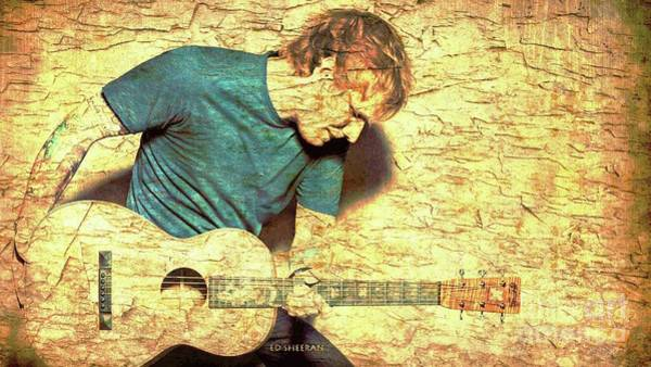 Wall Art - Digital Art - Ed Sheeran And Guitar by Drawspots Illustrations
