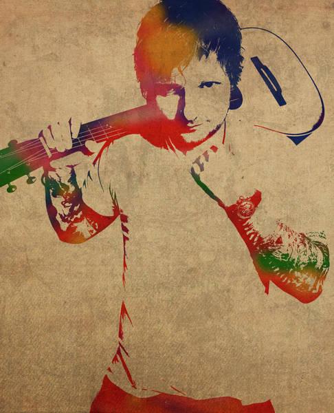 Wall Art - Mixed Media - Ed Sheeran Watercolor Portrait by Design Turnpike