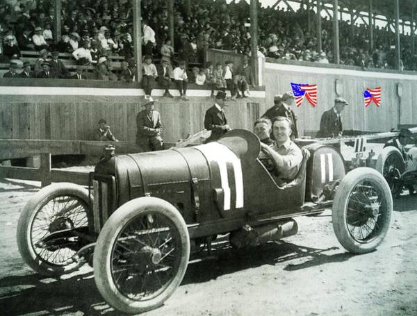 Photograph - Eddie Rickenbacker Fair Grounds Track 103 Mile Auto Race   March 20 1915 Tucson Az Color Added 2012 by David Lee Guss