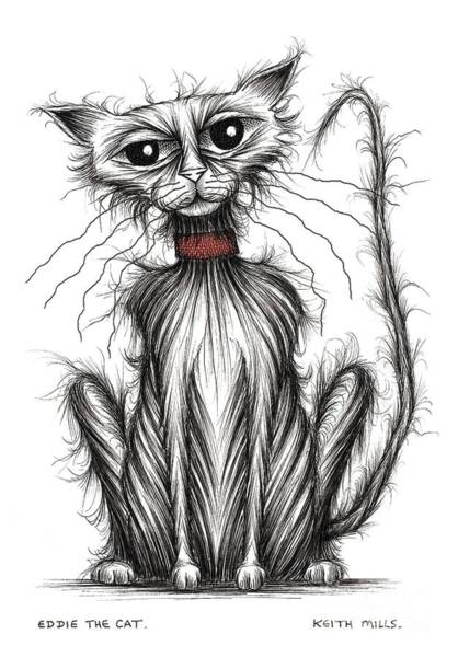 Miserable Drawing - Eddie The Cat by Keith Mills