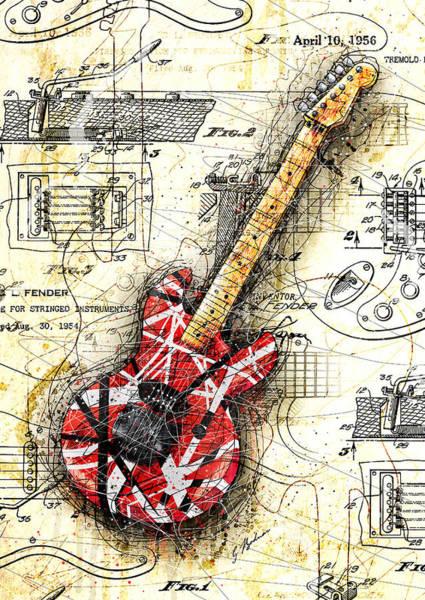 Eddie Digital Art - Eddie's Guitar II by Gary Bodnar