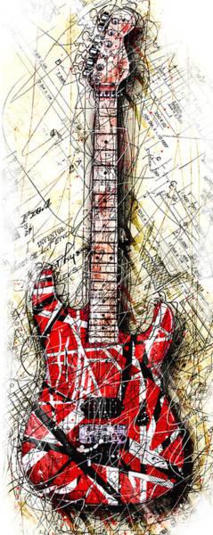 Eddie Digital Art - Eddie's Guitar Vert 1a by Gary Bodnar