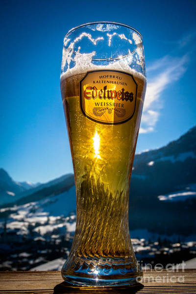 Art Print featuring the photograph Edelweiss Beer In Kirchberg Austria by John Wadleigh