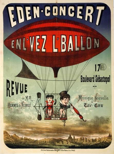 Art Nouveau Mixed Media - Eden-concert - Air Balloon - Vintage Advertising Poster by Studio Grafiikka
