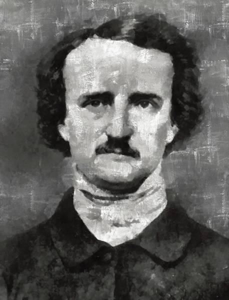 Poe Wall Art - Painting - Edgar Allan Poe Author by Mary Bassett