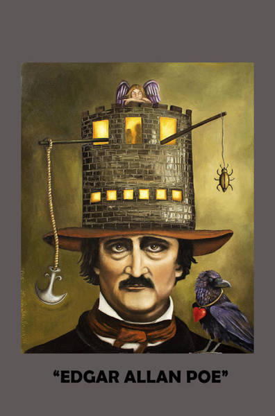 Painting - Edgar Allan Poe With Lettering by Leah Saulnier The Painting Maniac