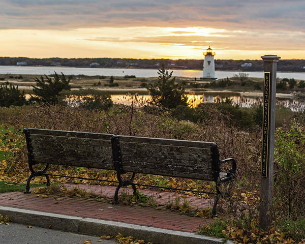 Photograph - Edgartown Ma Lighthouse At Sunrise Martha's Vineyard Cape Cod Bench by Toby McGuire