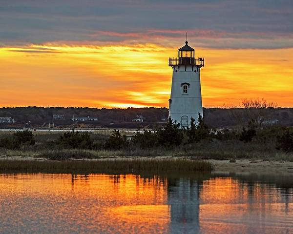 Photograph - Edgartown Ma Lighthouse At Sunrise Martha's Vineyard Cape Cod by Toby McGuire