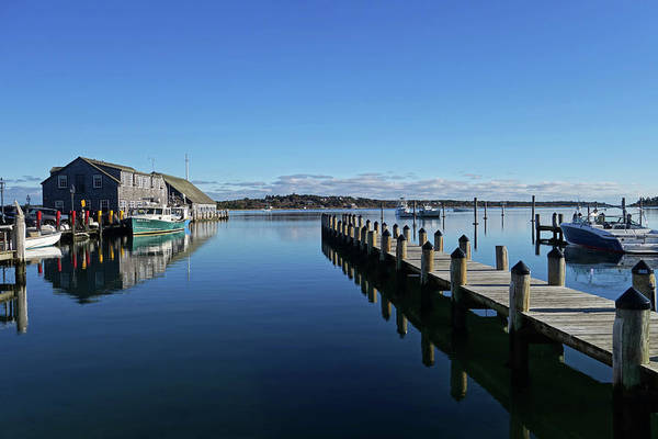 Photograph - Edgartown Ma Pier Martha's Vineyard Cape Cod Blue Water Fishing Boats by Toby McGuire