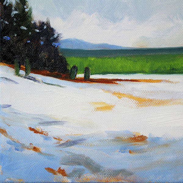 Wall Art - Painting - Edge Of The Snow Field by Nancy Merkle