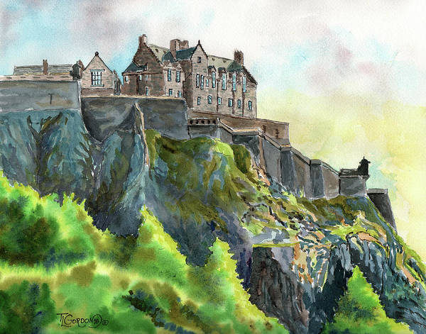 Outcrop Painting - Edinburgh Castle From Princes Street by Timithy L Gordon