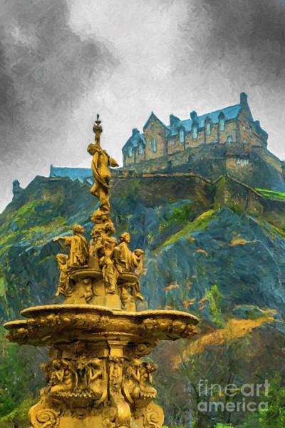 Ross Digital Art - Edinburgh Ross Fountain Digital Painting by Antony McAulay