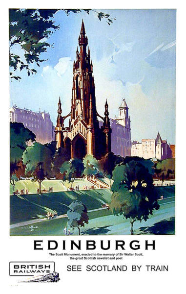 Wall Art - Painting - Edinburgh, Scotland, Cathedral, Vintage Travel Poster by Long Shot