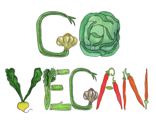 Painting - Editorial Illustration Go Vegan by Irina Sztukowski