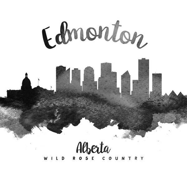 Wall Art - Painting - Edmonton Alberta Skyline 18 by Aged Pixel