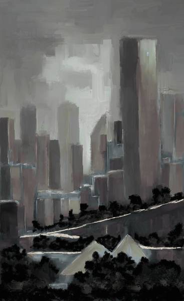 Digital Art - Edmonton Skyline Abstract Painting by Eduardo Tavares