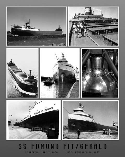 Great Lakes Photograph - Edmund Fitzgerald Black And White by John Farr