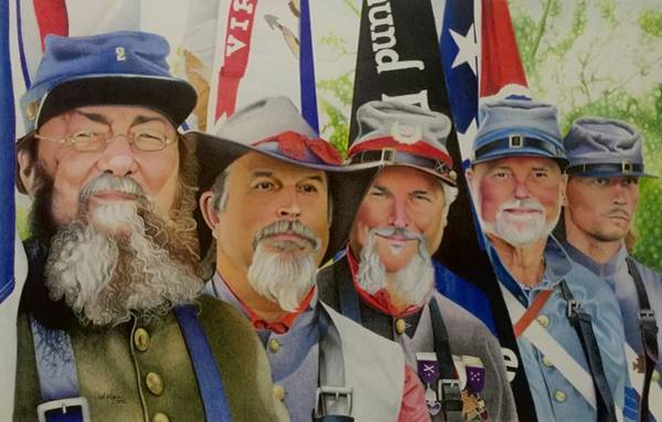 Confederate Soldier Drawing - Edmund Ruffin Fire Eaters Color Guard 2016 by David Hoque