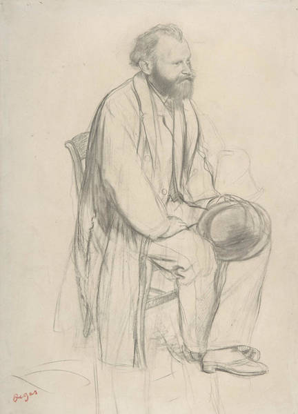 Drawing - Edouard Manet, Seated, Holding His Hat by Edgar Degas