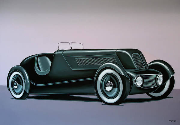Wall Art - Painting - Edsel Ford Model 40 Special Speedster 1934 Painting by Paul Meijering