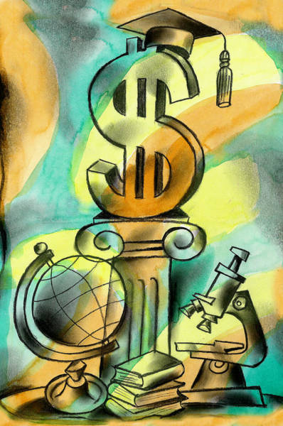 Wall Art - Painting - Education And Money by Leon Zernitsky
