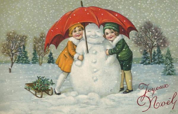 Wall Art - Painting - Edwardian Christmas Card by English School
