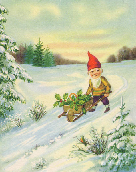 Wall Art - Painting - Edwardian Christmas Card Of A Gnome Pushing A Small Cart Of Holly In The Snow by English School