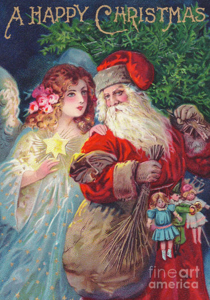 Wall Art - Painting - Edwardian Christmas Card Of Father Christmas With An Angel by English School