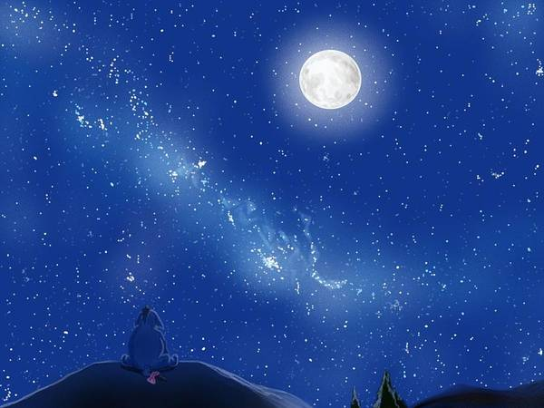 Hundred Wall Art - Painting - Eeyore A Lonely Night by Amber Stanford