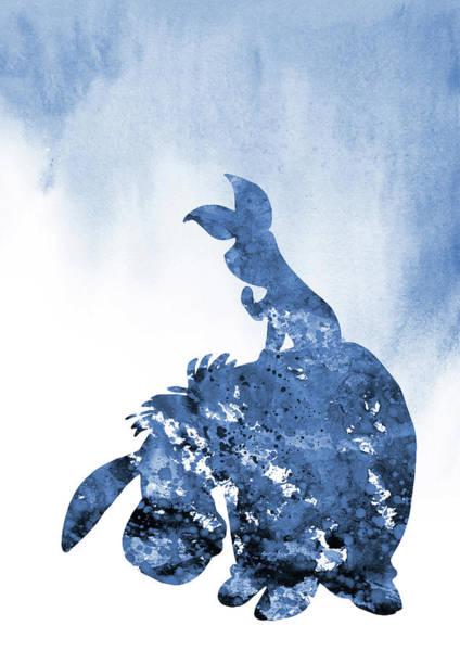 Wall Art - Digital Art - Eeyore And Piglet-blue by Erzebet S