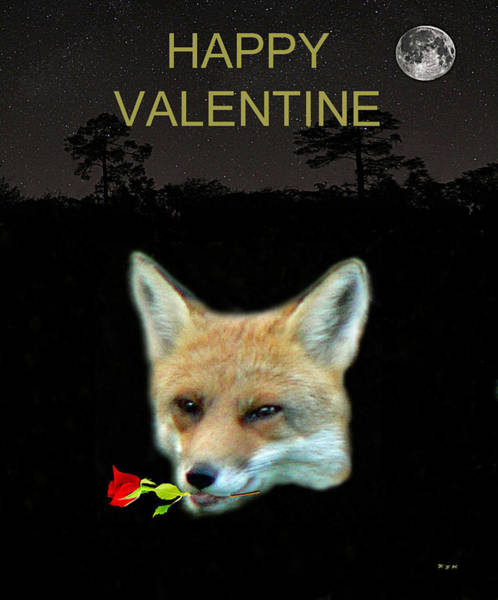 Mixed Media - Eftalou Fox Max With Rose Happy Valentine by Eric Kempson