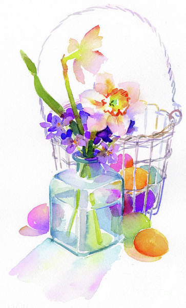 Painting - Egg Basket With Flowers by John Keeling