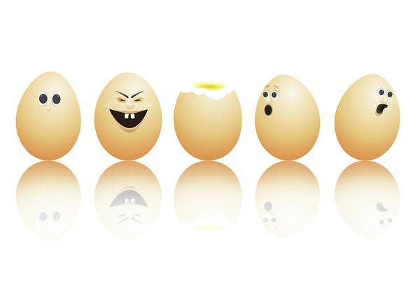 Ingredient Digital Art - Egg Faces. by Samantha Craddock