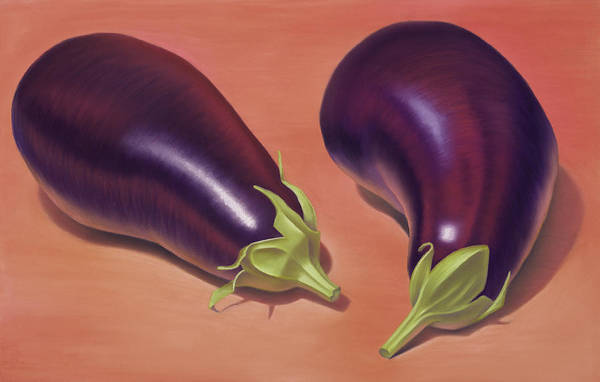 Wall Art - Painting - Eggplants by Gema Lopez