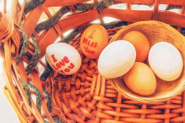 Protein Painting - Eggs In A Wooden Basket by Sezer Akdeniz