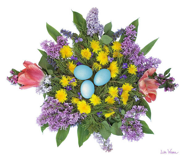 Eggs In Dandelions, Lilacs, Violets And Tulips Art Print