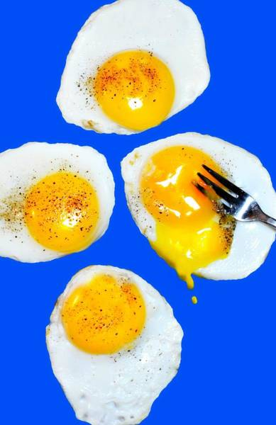 Wall Art - Photograph - Eggs Over Blue by Diana Angstadt