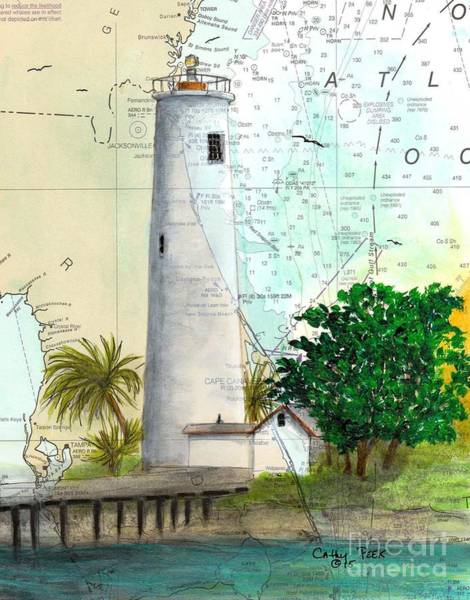 Wall Art - Painting - Egmont Key Lighthouse Fl Cathy Peek Nautical Chart Map by Cathy Peek