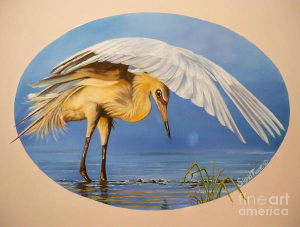 Painting - Chloe The  Flying Lamb Productions                  Egret Fishing by Sigrid Tune
