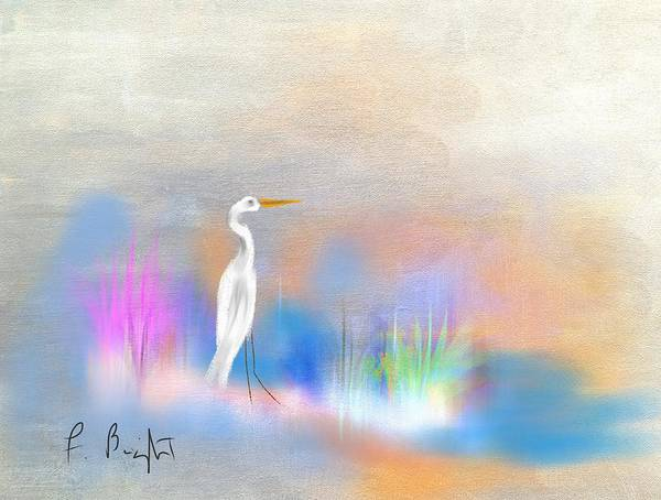 Sawgrass Digital Art - Egret Grace Abstract by Frank Bright